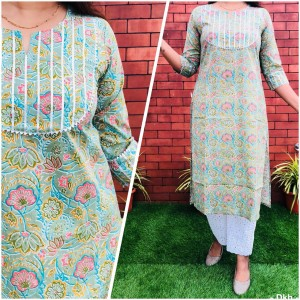 Cotton Printed Gota Lace Kurti Beautiful Chikankari Work Plazo