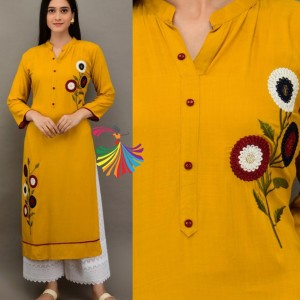 Women's Rayon Slub Fabric Kurti, Pure Cotton Chikankari Fabric Plazo