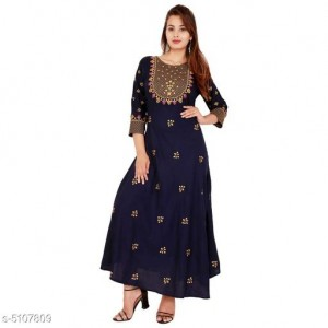 Beautiful Women's Embroidered Rayon Kurti