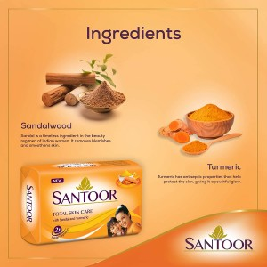 Santoor Sandal and Turmeric Soap (4 soaps 125g each)