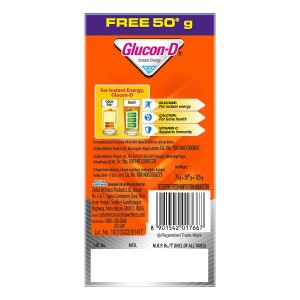 Glucon D Instant Energy Health Drink Tangy Orange – 75gm Refill (Extra 50gm Free)